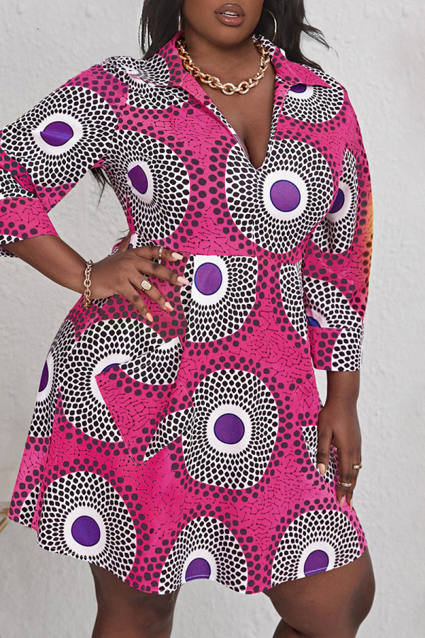 Rose Red Casual Print Split Joint V Neck A Line Plus Size Dresses