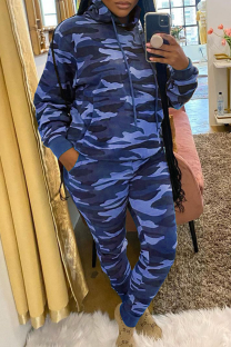 Blue Casual Camouflage Print Split Joint Hooded Collar Long Sleeve Two Pieces