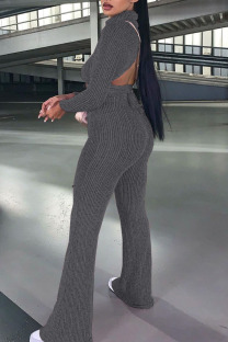 Dark Gray Casual Solid Bandage Split Joint Backless Turtleneck Long Sleeve Two Pieces