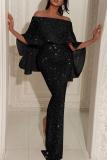 Black Fashion Sexy Solid Split Joint Slit Off the Shoulder Evening Dress