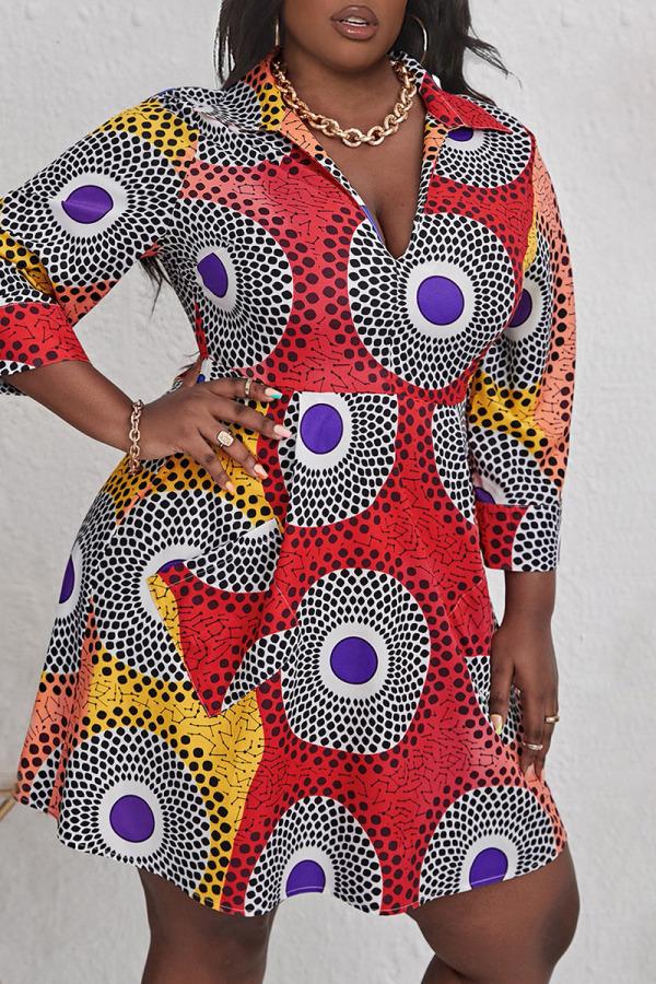Multicolor Casual Print Split Joint V Neck A Line Plus Size Dresses