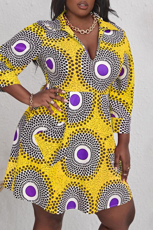 Yellow Casual Print Split Joint V Neck A Line Plus Size Dresses