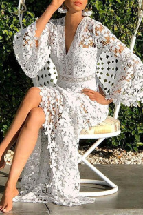 White Sweet Elegant Solid Hollowed Out Split Joint Straight Dresses