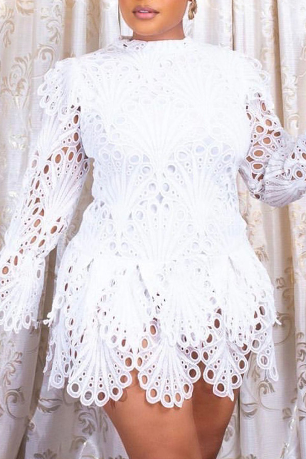 White Sweet Solid Embroidery Split Joint Asymmetrical O Neck A Line Plus Size Dresses