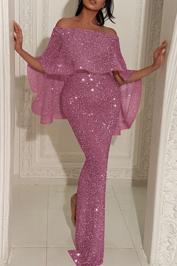 Pink Fashion Sexy Solid Split Joint Slit Off the Shoulder Evening Dress