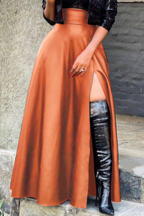 Brown Sexy Solid Split Joint Slit Straight High Waist Type A Solid Color Bottoms