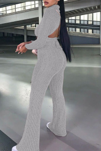 Light Gray Casual Solid Bandage Split Joint Backless Turtleneck Long Sleeve Two Pieces