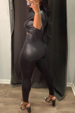 Black Sexy Solid Buttons Asymmetrical Turndown Collar Long Sleeve Two Pieces