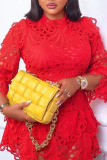 Yellow Sweet Solid Embroidery Split Joint Asymmetrical O Neck A Line Plus Size Dresses
