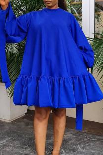 Blue Casual Sweet Solid Split Joint Flounce Fold O Neck A Line Dresses