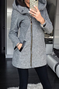 Grey Casual Solid Split Joint Pocket Zipper Hooded Collar Outerwear
