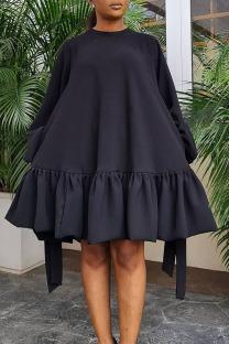 Black Casual Sweet Solid Split Joint Flounce Fold O Neck A Line Dresses