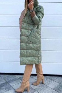 Green Casual Solid Split Joint Pocket Buckle Turtleneck Outerwear