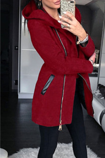 Red Casual Solid Split Joint Pocket Zipper Hooded Collar Outerwear