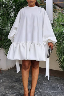 White Casual Sweet Solid Split Joint Flounce Fold O Neck A Line Dresses