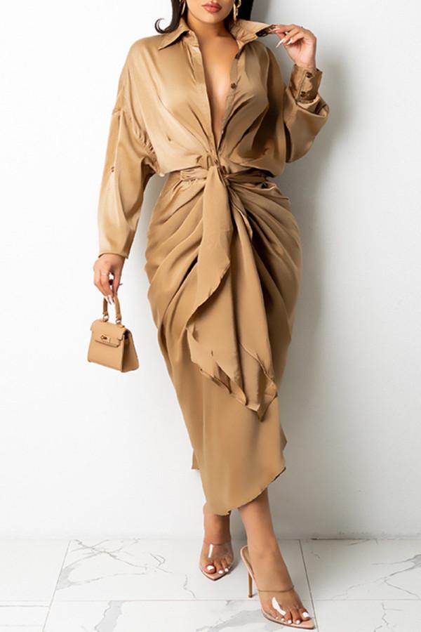 Khaki Fashion Casual Solid Bandage Turndown Collar Long Sleeve Dresses