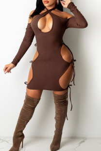 Dark Brown Sexy Hollowed Out Split Joint Halter One Step Skirt Dresses