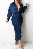 Blue Fashion Casual Solid Bandage Turndown Collar Long Sleeve Dresses