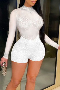 White Sexy Zipper See-through Mesh Hot Drill O Neck Skinny Jumpsuits