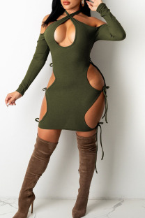 Ink Green Sexy Hollowed Out Split Joint Halter One Step Skirt Dresses