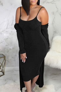 Black Sexy Solid Split Joint Sleeveless Two Pieces