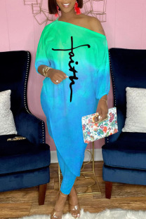 Blue Casual Print Split Joint Asymmetrical Off the Shoulder Three Quarter Two Pieces