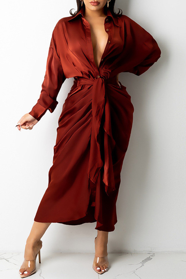 Burgundy Fashion Casual Solid Bandage Turndown Collar Long Sleeve Dresses