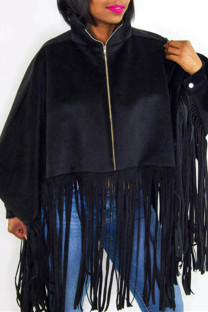 Black Fashion Casual Solid Tassel Zipper Collar Plus Size Overcoat