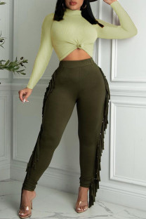 Green Fashion Casual Solid Tassel Turtleneck Long Sleeve Two Pieces