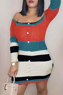 Multicolor Fashion Casual Patchwork Backless Off the Shoulder Long Sleeve Dresses