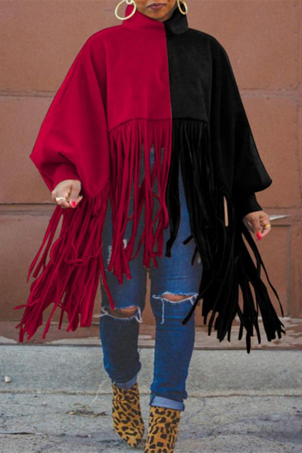 Black Red Fashion Casual Patchwork Tassel Turtleneck Plus Size Overcoat