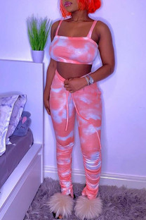 Pink Sexy Casual Tie Dye Fold Pants Spaghetti Strap Sleeveless Two Pieces