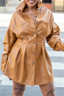 Camel Fashion Casual Solid Split Joint Turndown Collar Long Sleeve Dresses