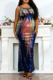 Colour Fashion Sexy Plus Size Patchwork Sequins Backless Spaghetti Strap Evening Dress