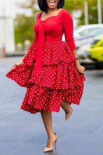 Red Sweet Celebrities Print Polka Dot Split Joint Flounce Square Collar Cake Skirt Dresses