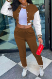 Coffee Casual Solid Split Joint Buckle Long Sleeve Two Pieces