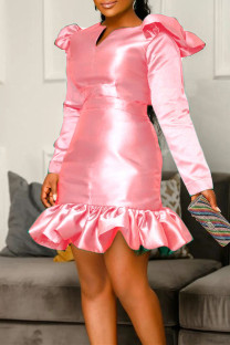 Pink Fashion Casual Solid Split Joint V Neck Long Sleeve Dresses