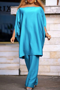 Blue Casual Solid Split Joint Off the Shoulder Three Quarter Two Pieces