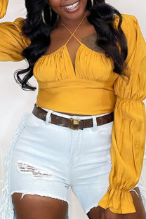Gold Fashion Casual Solid Fold Halter Tops