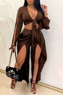 Brown Sexy Casual Solid Bandage Slit V Neck Long Sleeve Two Pieces