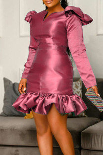 Fuchsia Fashion Casual Solid Split Joint V Neck Long Sleeve Dresses