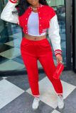Red Casual Solid Split Joint Buckle Long Sleeve Two Pieces