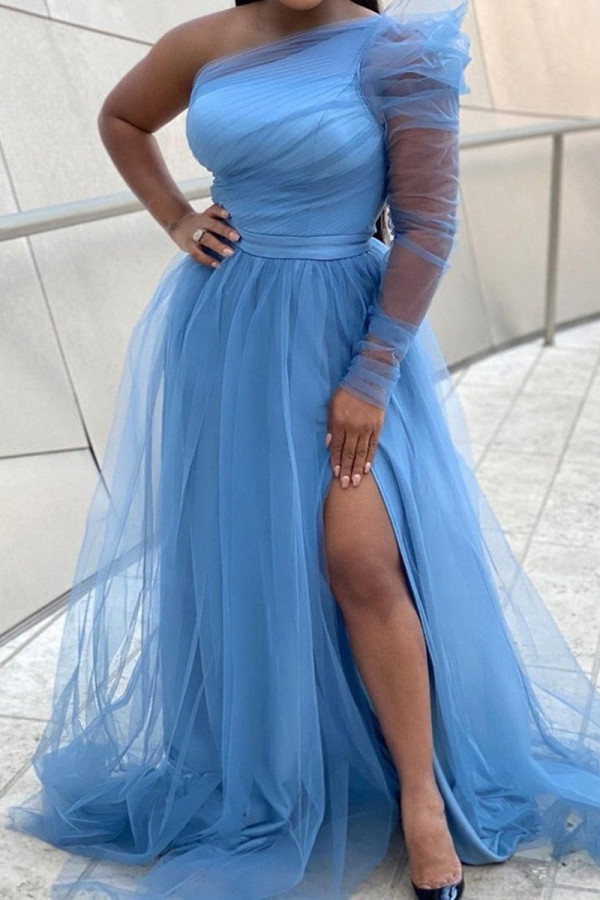 Light Blue Fashion Sexy Solid Backless Slit Oblique Collar Long Sleeve Plus Size Dresses
