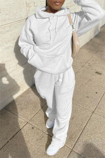 White Fashion Casual Solid Basic Hooded Collar Long Sleeve Two Pieces
