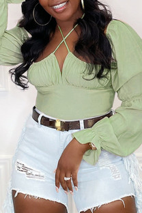 Green Fashion Casual Solid Fold Halter Tops