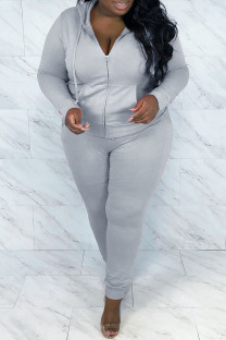 Grey Casual Solid Hot Drill Hooded Collar Plus Size Two Pieces