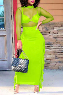 Fluorescent Green Sexy Solid Tassel Split Joint See-through O Neck Long Sleeve Two Pieces