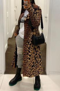Leopard Print Fashion Casual Solid Leopard Cardigan Turndown Collar Outerwear