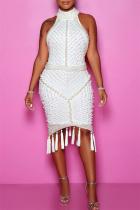 White Sexy Plus Size Patchwork Tassel Backless Beading Half A Turtleneck Sleeveless Dress