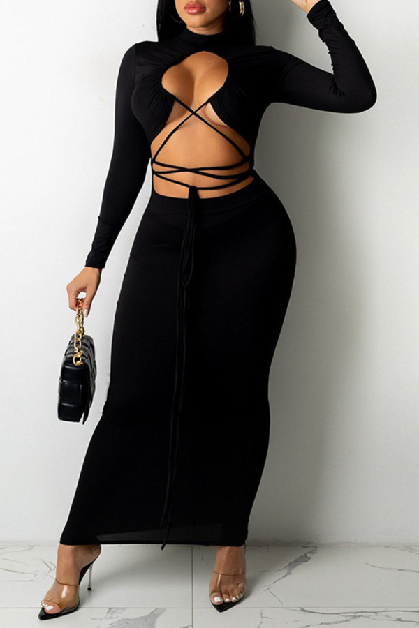 Black Sexy Solid Hollowed Out Split Joint Frenulum O Neck One Step Skirt Dresses